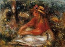 "Репродукция картины ""Young Woman Seated on the Grass"" художника ""Ренуар Пьер Огюст"""