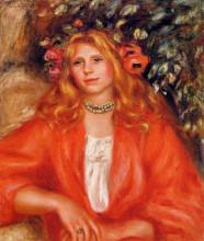 "Репродукция картины ""Young Woman Wearing a Garland of Flowers"" художника ""Ренуар Пьер Огюст"""