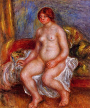 "Репродукция картины ""Nude Woman on Green Cushions"" художника ""Ренуар Пьер Огюст"""