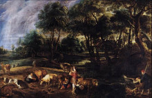 "Копия картины ""landscape with cows and wildfowlers"" художника ""рубенс питер пауль"""