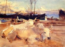 """Копия картины """"oxen on the beach at baia"""" художника """"сарджент джон сингер"""""""