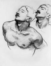 "Картина ""sketch for the sorrowful mysteries, the carrying of the cross. head and shoulders of a man"" художника ""сарджент джон сингер"""