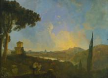 """Репродукция картины """"A View of the Tiber with Rome in the Distance"""" художника """"Уилсон Ричард"""""""