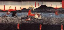 """Копия картины """"kagesue, takatsuna and shigetada crossing the uji river"""" художника """"утагава куниёси"""""""