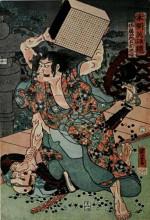 """Картина """"sato tadanobu, a samurai of the twelfth century, defending himself with a goban, whan attacked by his enemies"""" художника """"утагава куниёси"""""""