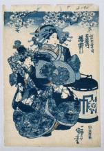 """Картина """"the courtesans usugomo, haruka, and yayoi of the tamaya teahouse"""" художника """"утагава куниёси"""""""