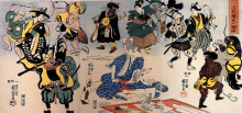 "Репродукция картины ""otsu-e paintings coming alive triptych"" художника ""утагава куниёси"""