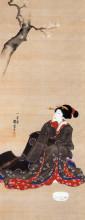 "Репродукция картины ""woman seated under a cherry blossoms"" художника ""утагава куниёси"""