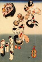 """Картина """"cats forming the caracters for catfish"""" художника """"утагава куниёси"""""""