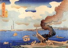 """Репродукция картины """"caulking boats"""" художника """"утагава куниёси"""""""