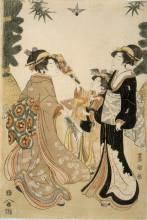 "Копия картины ""Three Beauties Playing Battledore and Shuttlecock"" художника ""Утагава Тоёкуни"""