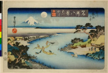 "Репродукция картины ""Autumn moon at Tamagawa, two boats fishing at night"" художника ""Утагава Тоёкуни II"""