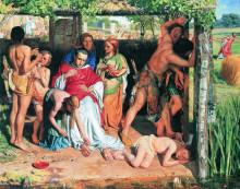 """Репродукция картины """"Английское семейство, обращённое в христианство, защищает проповедника этой религии от преследования друидов"""" художника """"Хант Уильям Холман"""""""
