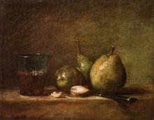"""Копия картины """"Pears, Walnuts and Glass of Wine"""" художника """"Шарден Жан Батист Симеон"""""""