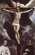 """Репродукция картины """"христос на кресте, почитаемый двумя благодетелями"""" художника """"эль греко"""""""
