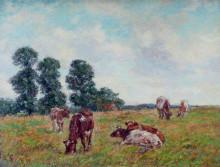 """Копия картины """"Meadow Scene with Cattle and Trees"""" художника """"Чарльз Джеймс"""""""
