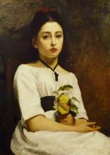 "Репродукция картины ""Study of a Girl in White"" художника ""Чарльз Джеймс"""