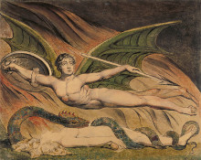 """Картина """"Сатана торжествует над Евой"""" художника """"Блейк Уильям"""""""
