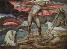 """Репродукция картины """"Дьявол, поражающий Иова проказой"""" художника """"Блейк Уильям"""""""