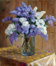 "Картина ""still life with lilacs"" художника ""богданов-бельский николай"""